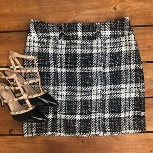 Ann Taylor Checkeded Tweed Skirt